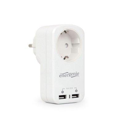 Зарядное устройство 2 USB по 2.1A со сквозной розеткой (1 из 5)