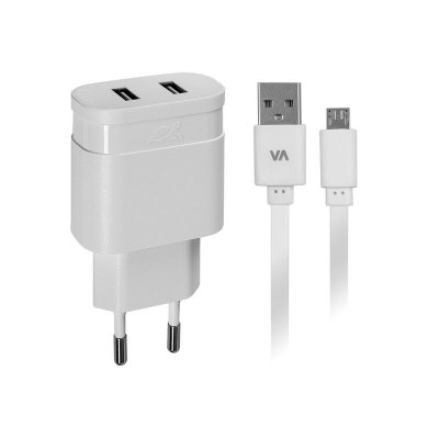 Сетевое ЗУ, USB, 2 порта, кабель micro USB (1 из 3)