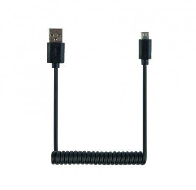 Кабель micro спиральный  USB 2.0 A-папа/Micro B-папа (1 из 4)