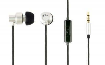 Вакуумные наушники с микрофоном, металлический корпус, серый цвет (1 из 4)