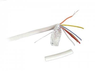 Кабель для сигнализаций, белый цвет, экранированный, 100м (1 из 2)