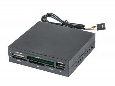 Кардридер внутренний FDI2-ALLIN1-02-B, работает с CF / MD / SM / MS / SD / MMC / Xd картами памяти, черный цвет (1 из 2)