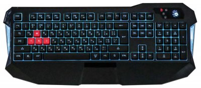 Клавиатура USB, игровая, синяя подсветка, эффект