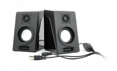 Колонки акустические, пластиковый корпус, 3 Вт , USB питание, черный цвет (1 из 3)