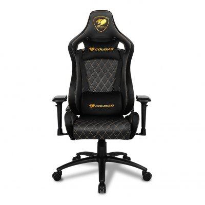Кресло геймерское, дышащая экокожа, стальной каркас, текстура замши, черный (1 из 4)