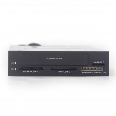 Кардридер внутренний FDI2-ALLIN1-03, SD/MMC/RS-MMC/MicroSD картами памяти и 2.5'' HDD/SSD, черный цвет (1 из 4)