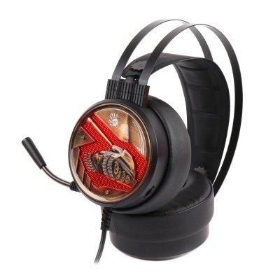 Наушники игровые с микрофоном, оранжевая подсветка, USB (1 из 5)